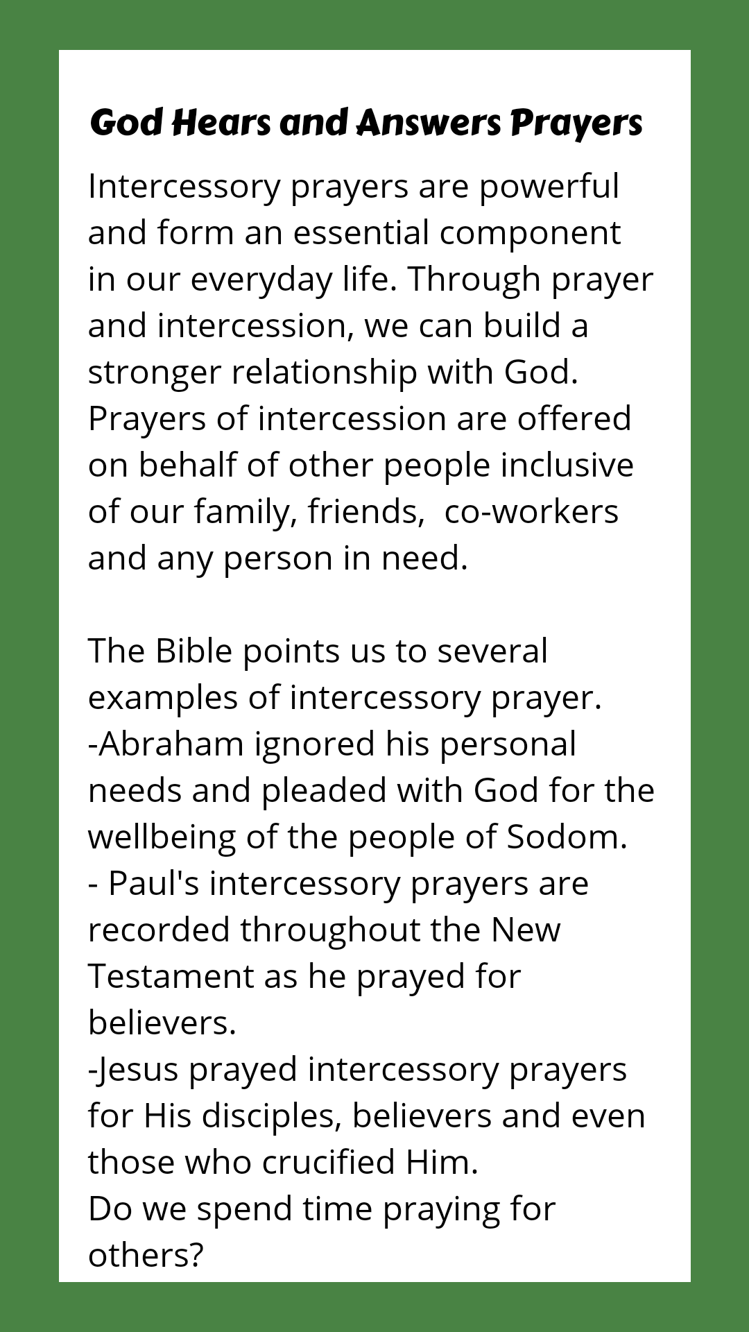 Prayer and Intercession | My Valley Experience